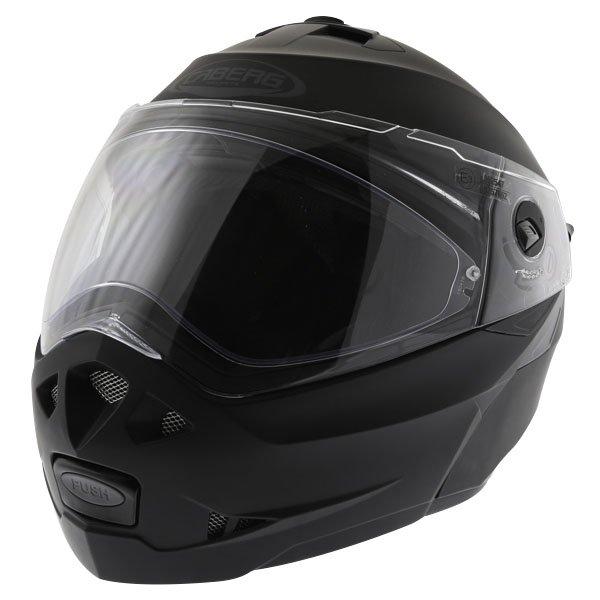 Caberg Duke Matt Black Flip Front Motorcycle Helmet Front Left