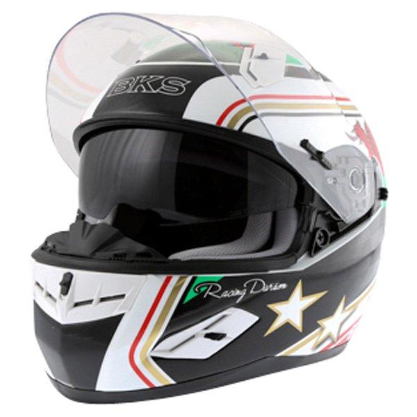 BKS Wales Flag Full Face Motorcycle Helmet Open With Sun Visor