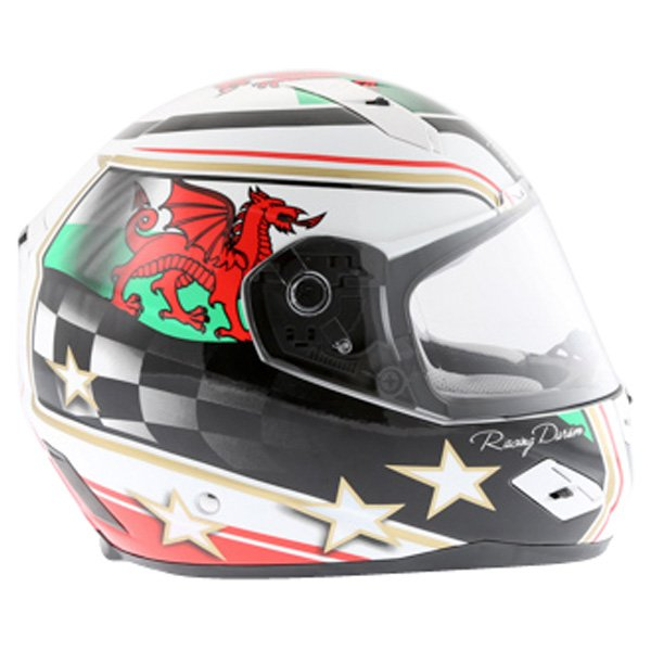 BKS Wales Flag Full Face Motorcycle Helmet Right Side