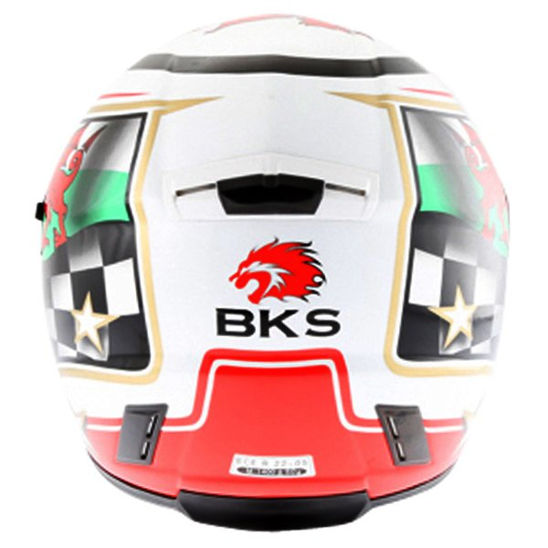 BKS Wales Flag Full Face Motorcycle Helmet Back