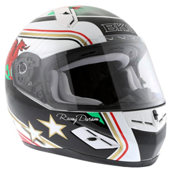 BKS Wales Flag Full Face Motorcycle Helmet Front Right