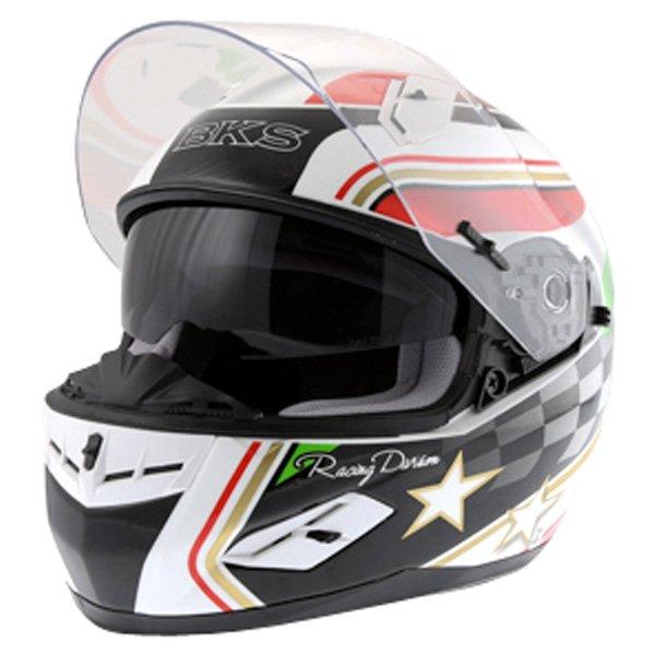 BKS Italy Flag Full Face Motorcycle Helmet Open With Sun Visor