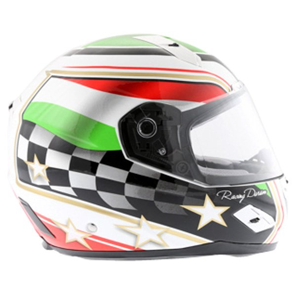 BKS Italy Flag Full Face Motorcycle Helmet Right Side