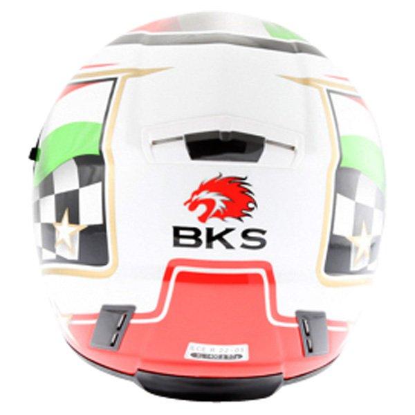 BKS Italy Flag Full Face Motorcycle Helmet Back