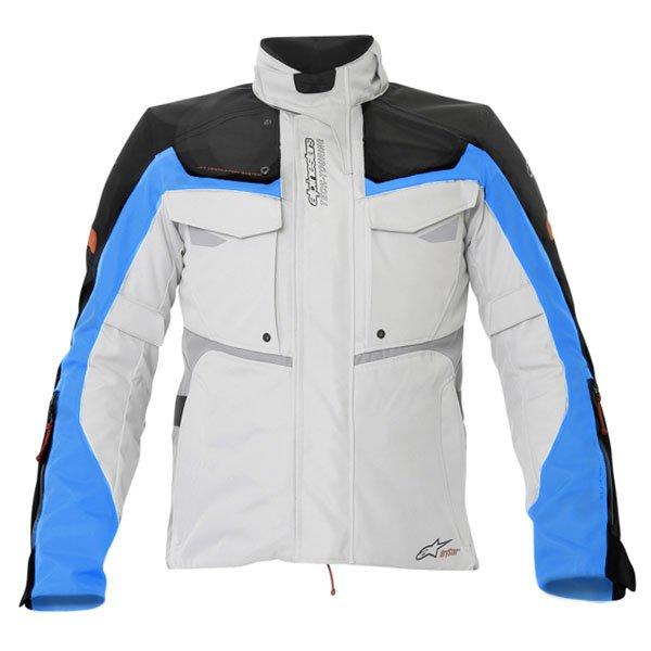 Alpinestars Bogota Drystar Mens Grey Blue Red Textile Motorcycle Jacket Front
