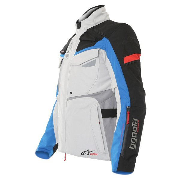 Alpinestars Bogota Drystar Mens Grey Blue Red Textile Motorcycle Jacket Side