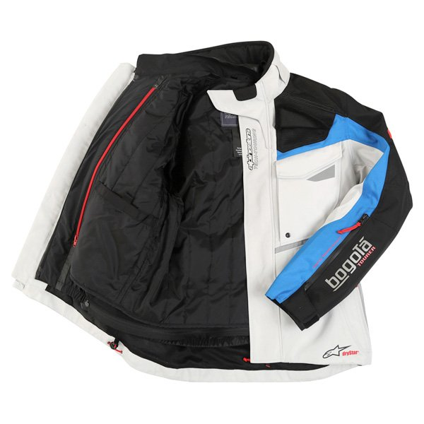 Alpinestars Bogota Drystar Mens Grey Blue Red Textile Motorcycle Jacket Inside