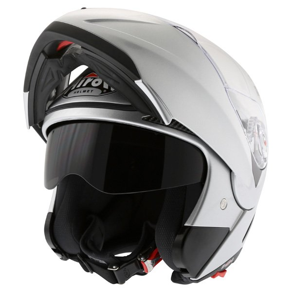 Airoh Cezannee XR Color Silver Full Face Motorcycle Helmet Flip Open