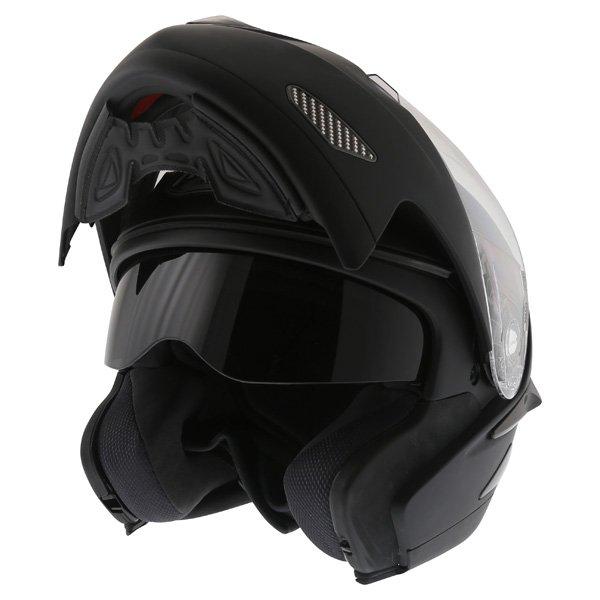 Airoh SV55-S Matt Black Flip Front Motorcycle Helmet Flip Open