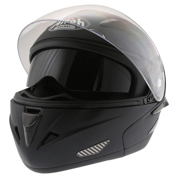 Airoh SV55-S Matt Black Flip Front Motorcycle Helmet Open With Sun Visor