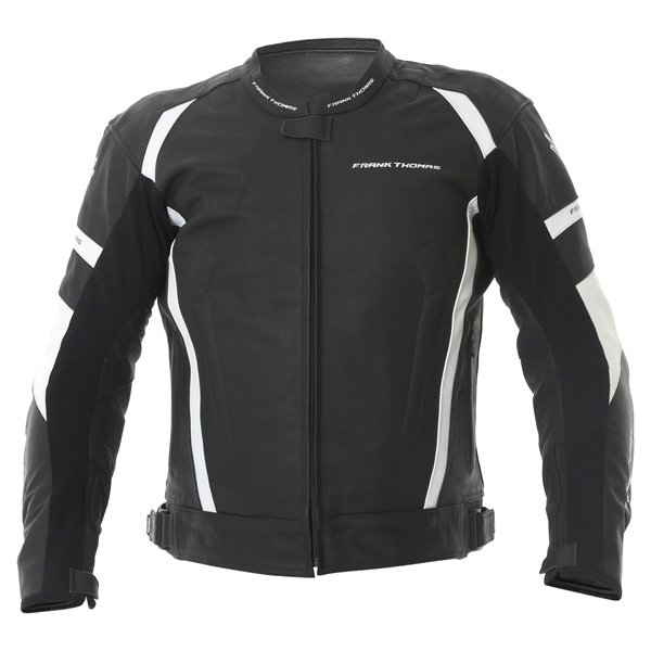 Frank Thomas Dynamic Black White Leather Motorcycle Jacket Front
