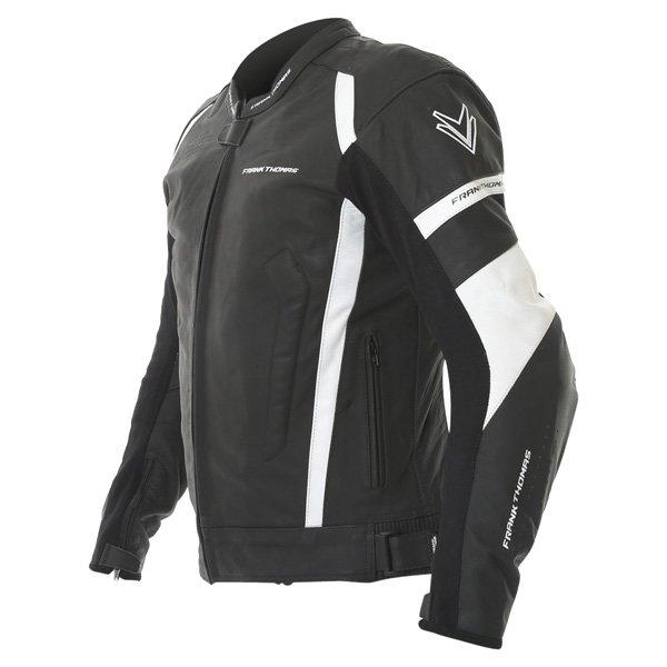 Frank Thomas Dynamic Black White Leather Motorcycle Jacket Side