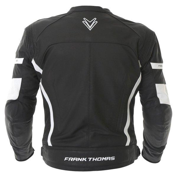 Frank Thomas Dynamic Black White Leather Motorcycle Jacket Back