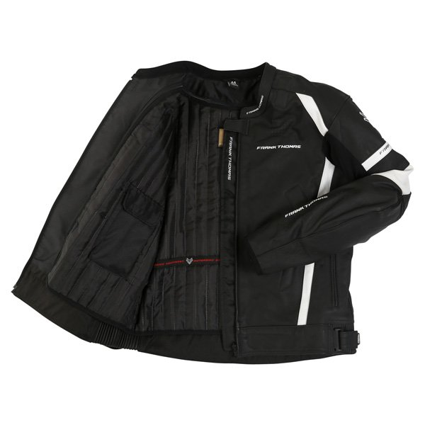 Frank Thomas Dynamic Black White Leather Motorcycle Jacket Inside