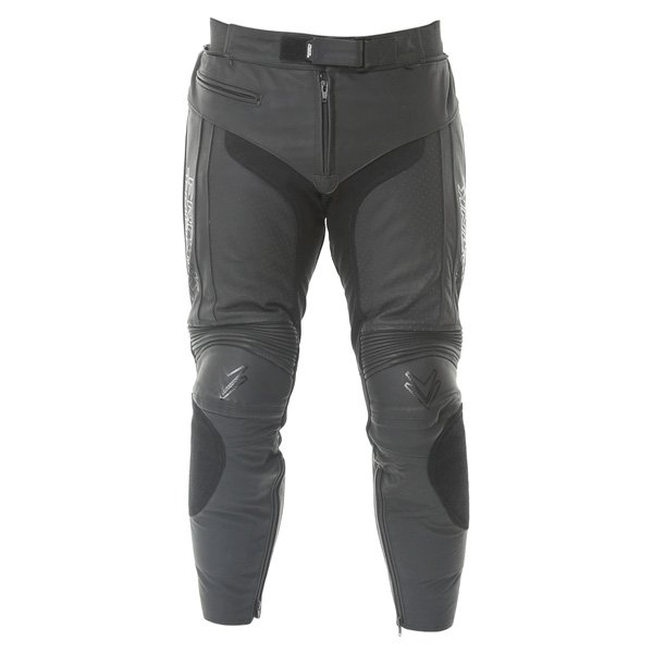 Frank Thomas Dynamic Black Leather Motorcycle Jeans Front