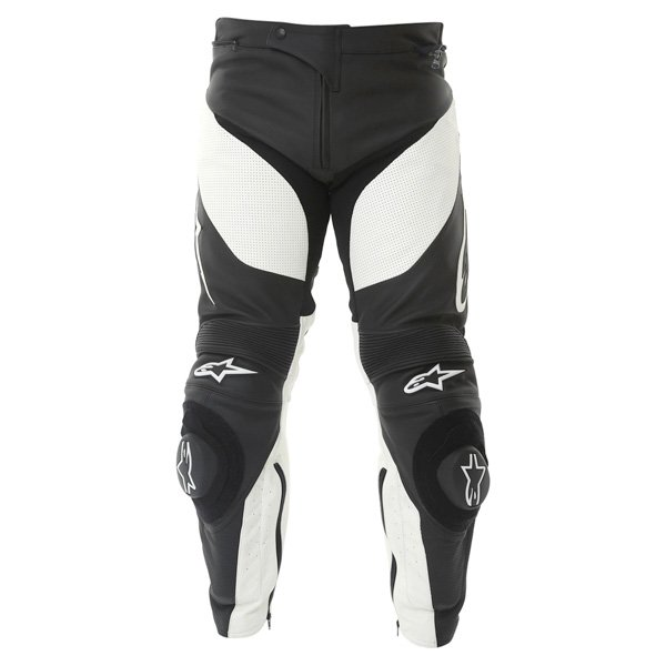 Alpinestars Track 2013 Black White Leather Motorcycle Jeans Front