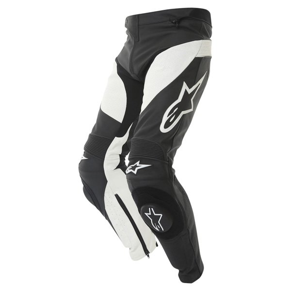 Alpinestars Track 2013 Black White Leather Motorcycle Jeans Riding crouch