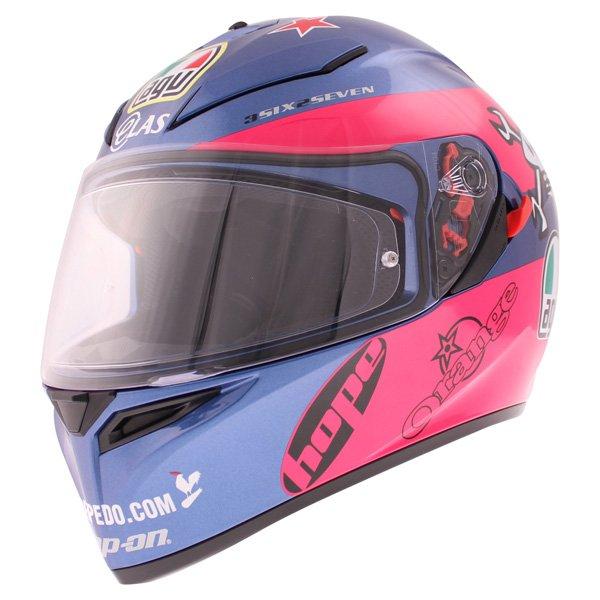 AGV K3 SV Guy Martin Pink Blue Full Face Motorcycle Helmet Front Left