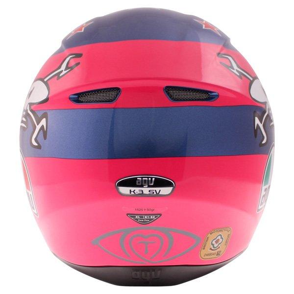 AGV K3 SV Guy Martin Pink Blue Full Face Motorcycle Helmet Back