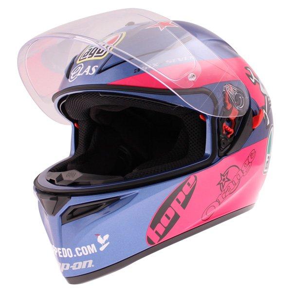 AGV K3 SV Guy Martin Pink Blue Full Face Motorcycle Helmet Visor Open