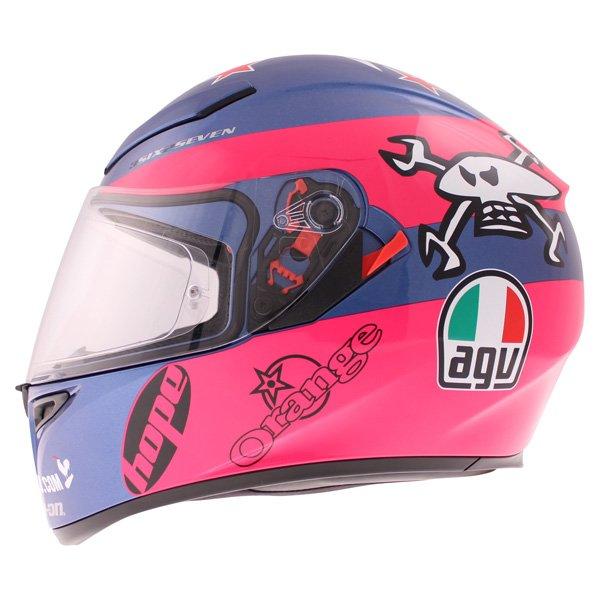 AGV K3 SV Guy Martin Pink Blue Full Face Motorcycle Helmet Left Side