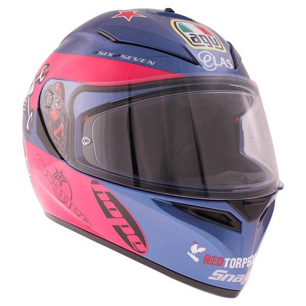 AGV K3 SV Guy Martin Pink Blue Full Face Motorcycle Helmet Front Right