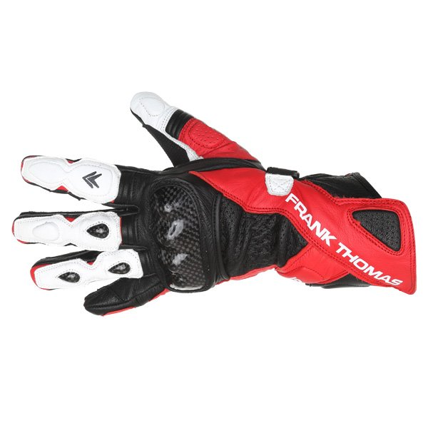 Frank Thomas Beta Black Red White Motorcycle Gloves Back