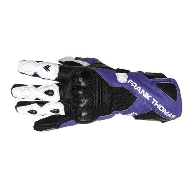 Frank Thomas Beta Black Blue White Motorcycle Gloves Back