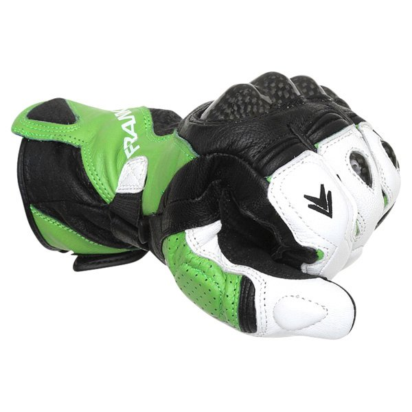 Frank Thomas Beta Black Green White Motorcycle Gloves Knuckle