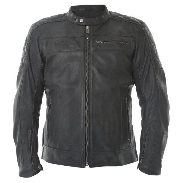 BKS Retro Black Leather Motorcycle Jacket Front