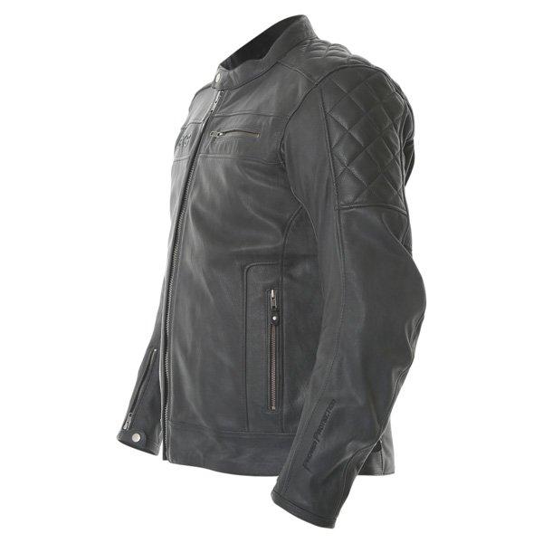 BKS Retro Black Leather Motorcycle Jacket Side