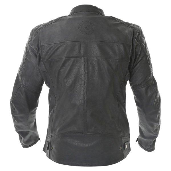 BKS Retro Black Leather Motorcycle Jacket Back
