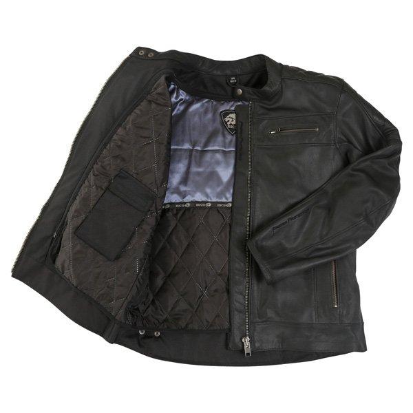 BKS Retro Black Leather Motorcycle Jacket Inside