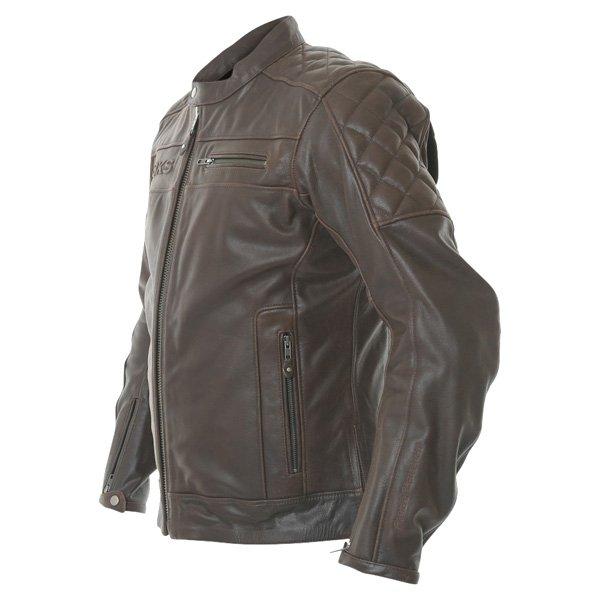 BKS Retro Brown Leather Motorcycle Jacket Side