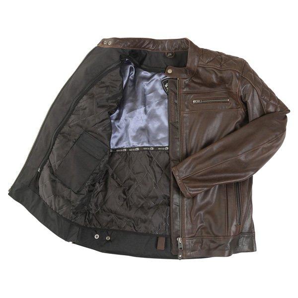 BKS Retro Brown Leather Motorcycle Jacket Inside