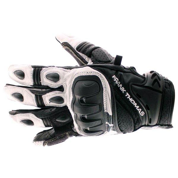 Frank Thomas Delta Black White Motorcycle Gloves Back