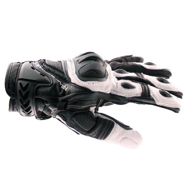 Frank Thomas Delta Black White Motorcycle Gloves Thumb side