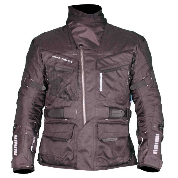 Frank Thomas FTW701 Jupiter Mens Black Textile Motorcycle Jacket Front