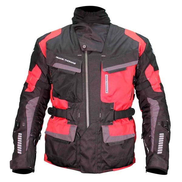 Frank Thomas FTW701 Jupiter Mens Black Red Textile Motorcycle Jacket Front