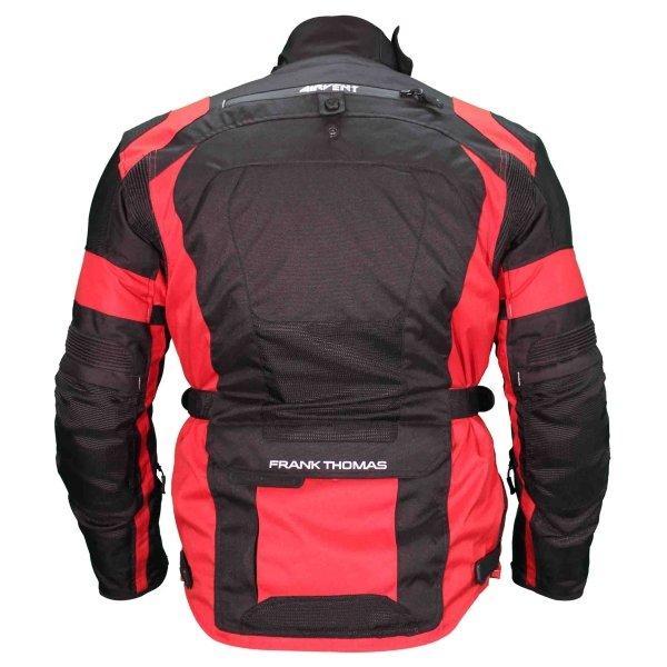 Frank Thomas FTW701 Jupiter Mens Black Red Textile Motorcycle Jacket Back