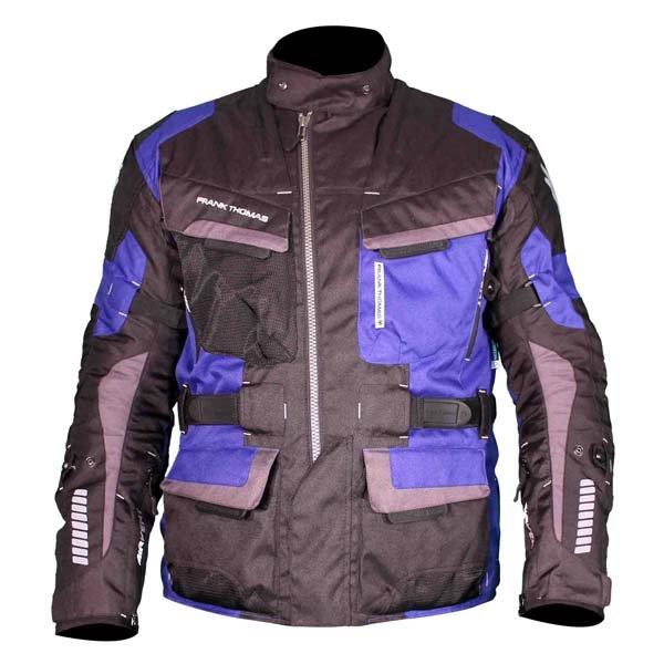 Frank Thomas FTW701 Jupiter Mens Black Blue Textile Motorcycle Jacket Front