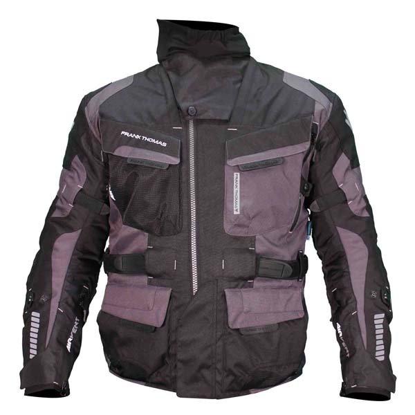 Frank Thomas FTW701 Jupiter Mens Black Grey Textile Motorcycle Jacket Front