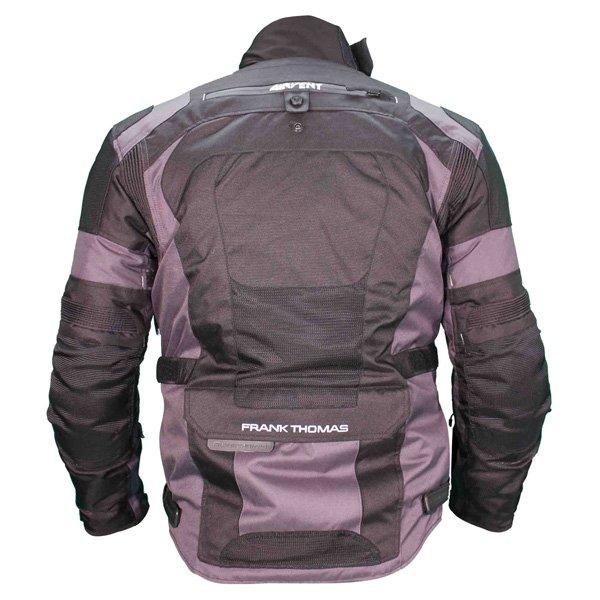 Frank Thomas FTW701 Jupiter Mens Black Grey Textile Motorcycle Jacket Back