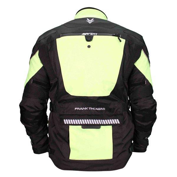 Frank Thomas FTW702 Mercury Mens Black Yellow Textile Motorcycle Jacket Back