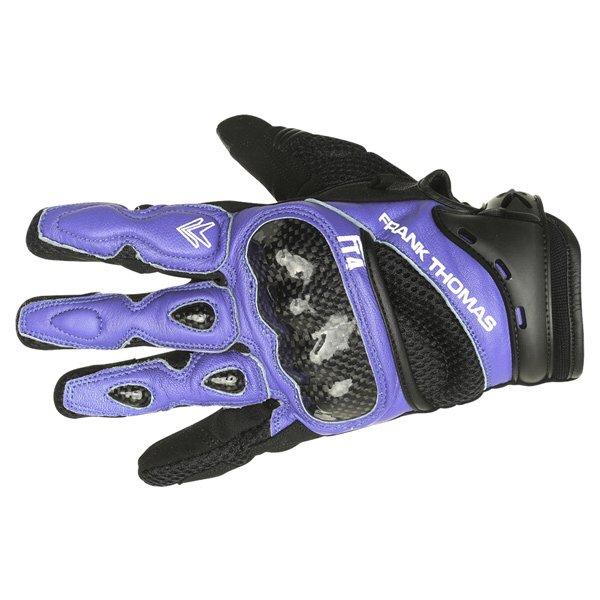 Frank Thomas Omega Black Blue Motorcycle Gloves Back
