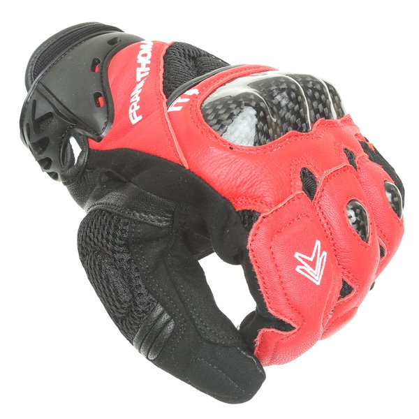 Frank Thomas Omega Black Red Motorcycle Gloves Knuckle