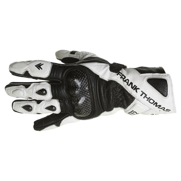 Frank Thomas Beta Black White Motorcycle Gloves Back