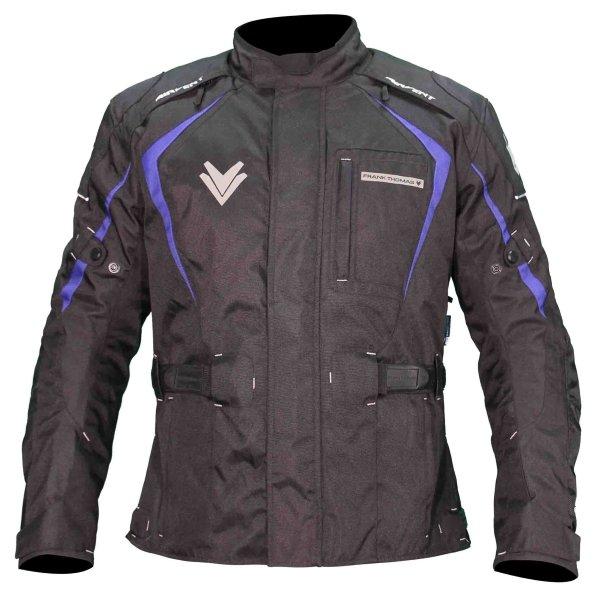 Frank Thomas FTW703 Saturn Mens Black Blue Textile Motorcycle Jacket Front