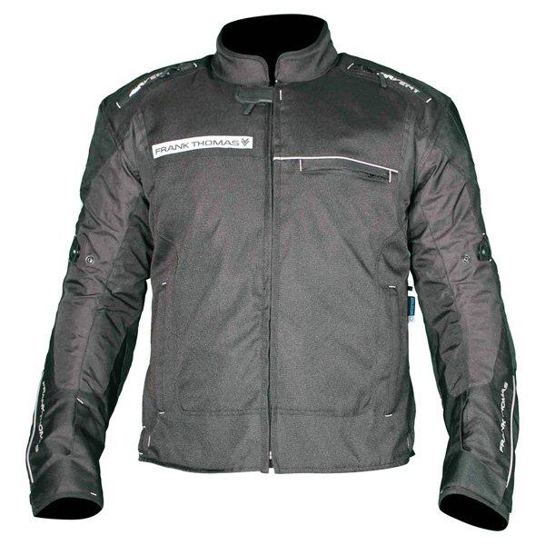 Frank Thomas FTW704 Neptune Mens Black Textile Motorcycle Jacket Front