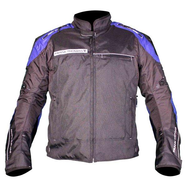 Frank Thomas FTW704 Neptune Mens Black Blue Textile Motorcycle Jacket Front